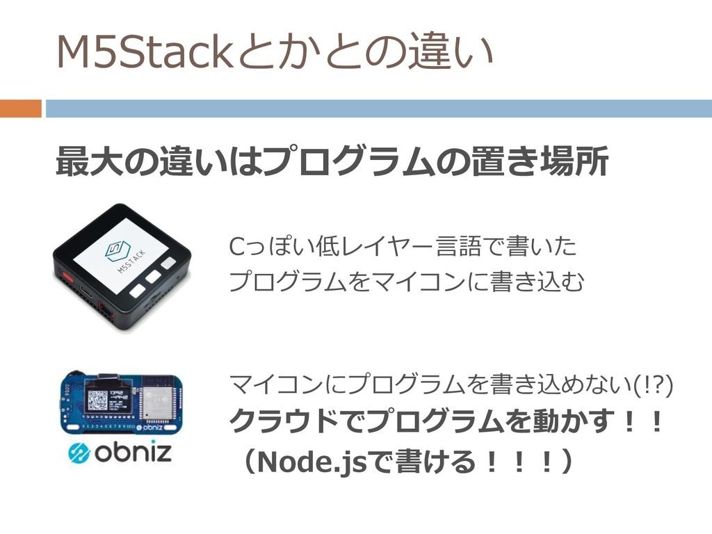 M5Stackとかとの違い 最大の違いはプログラムの置き場所 Cっぽい低レイヤー言語で書いた ...