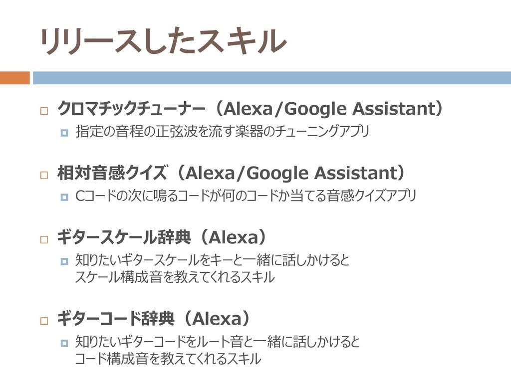 リリースしたスキル  クロマチックチューナー(Alexa/Google Assistant)...