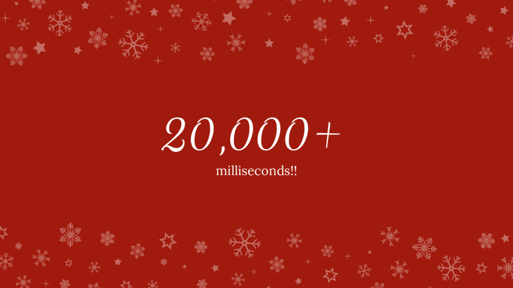 20,000+ milliseconds!!
