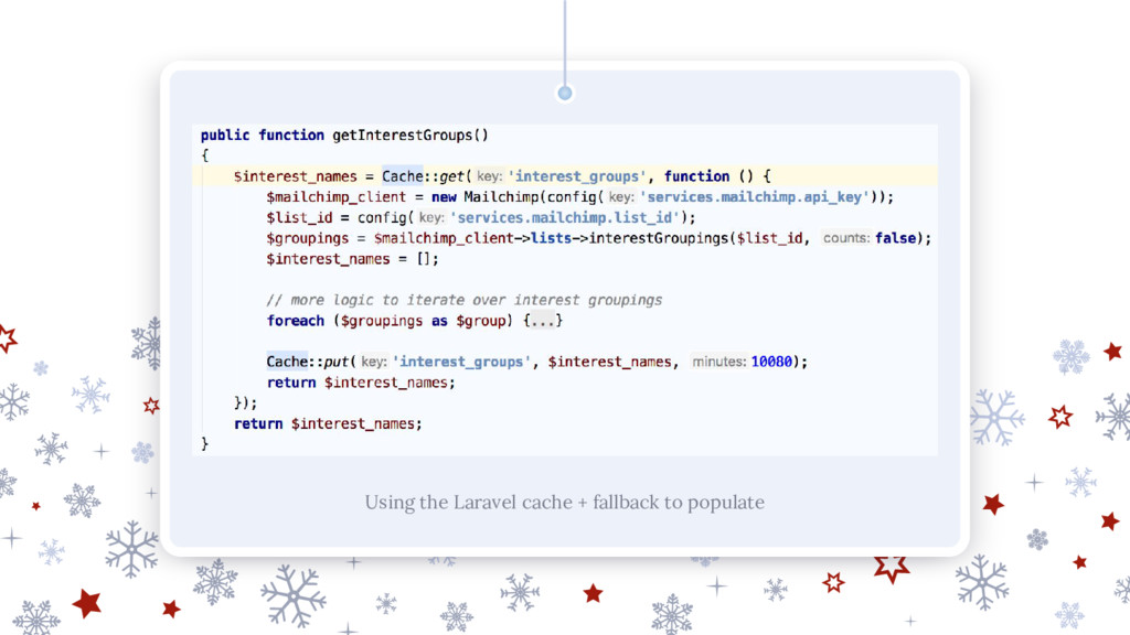 Using the Laravel cache + fallback to populate