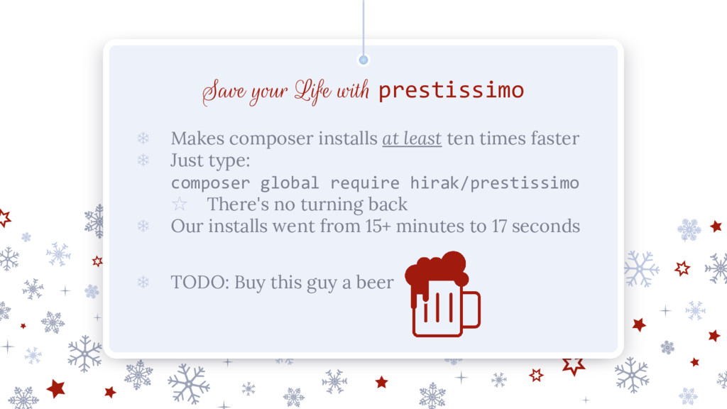 Save your Life with prestissimo ❄ Makes compose...