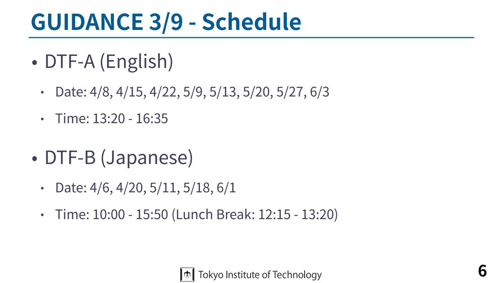 GUIDANCE 3/9 - Schedule • DTF-A (English) • Dat...