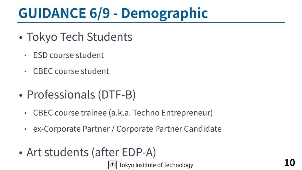 GUIDANCE 6/9 - Demographic • Tokyo Tech Student...