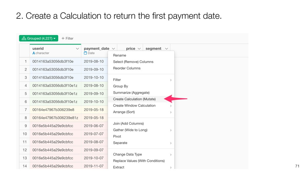2. Create a Calculation to return the first paym...