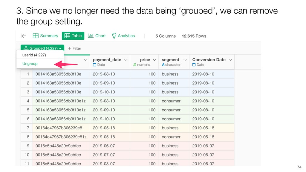 74 3. Since we no longer need the data being 'g...