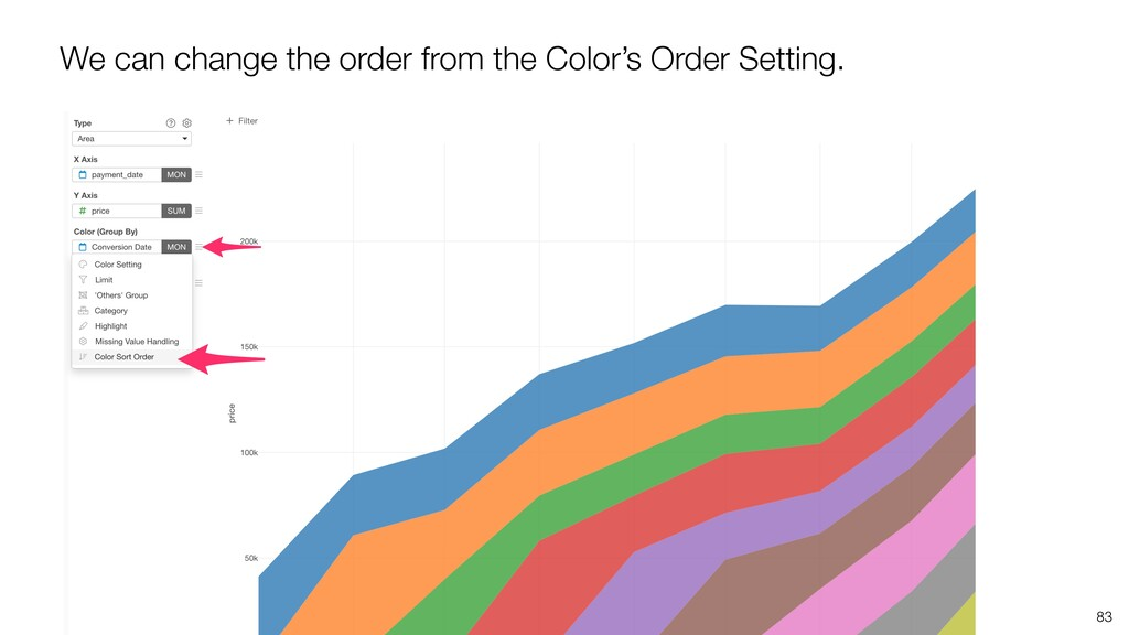 83 We can change the order from the Color's Ord...