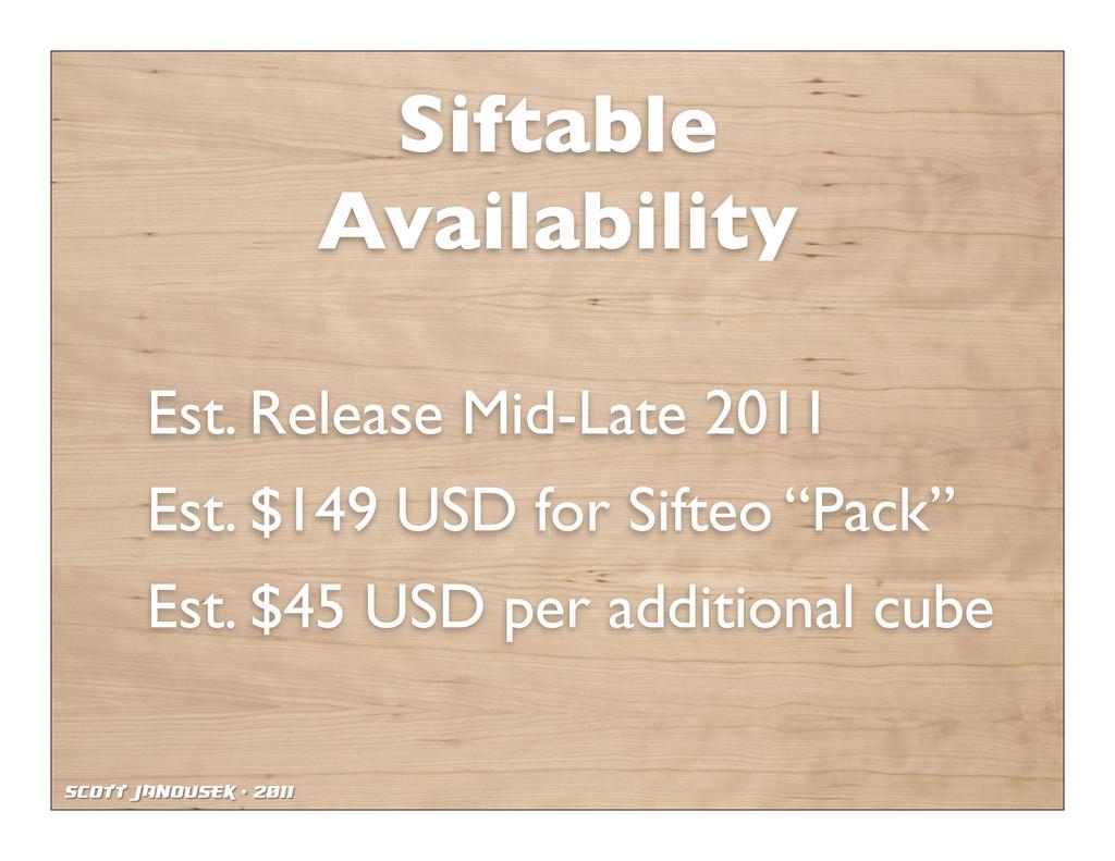 Scott Janousek - 2011 Siftable Availability Est...