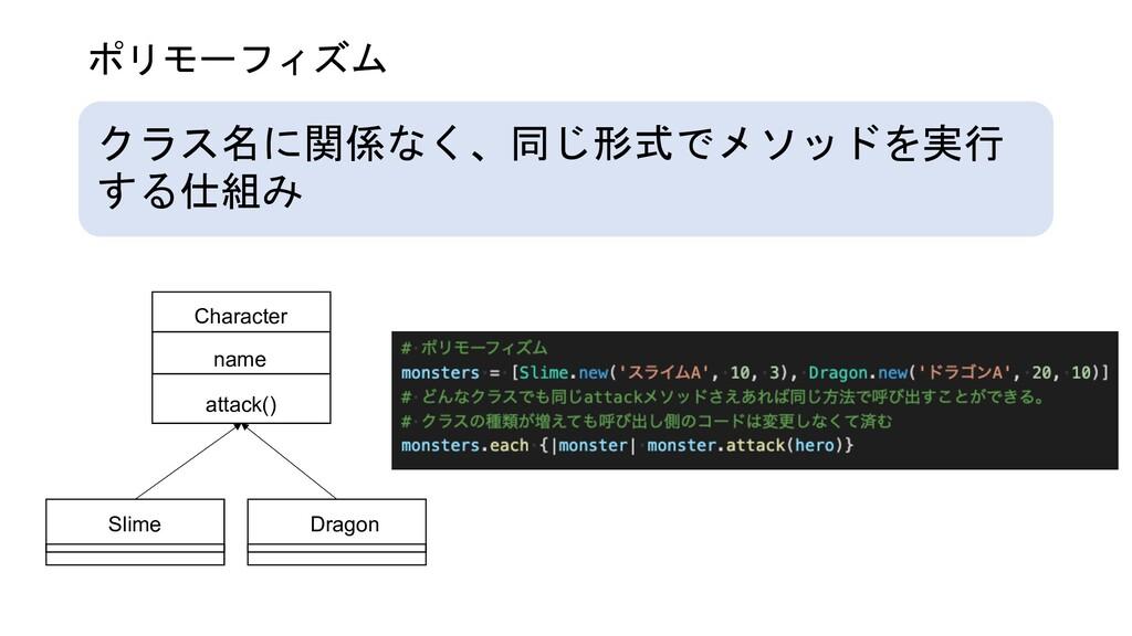 ポリモーフィズム クラス名に関係なく、同じ形式でメソッドを実行 する仕組み Character...