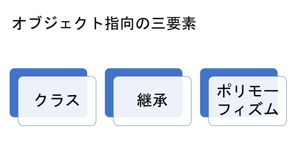 オブジェクト指向の三要素 クラス 継承 ポリモー フィズム