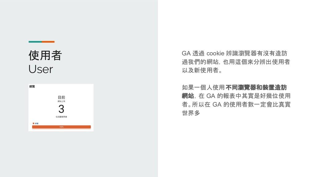 使用者 User GA 透過 cookie 辨識瀏覽器有沒有造訪 過我們的網站,也用這個來分辨...