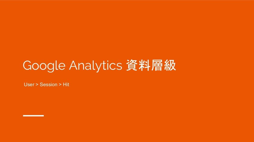 Google Analytics 資料層級 User > Session > Hit