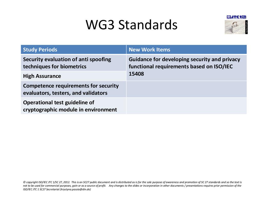 WG3 Standards Study Periods New Work Items Secu...