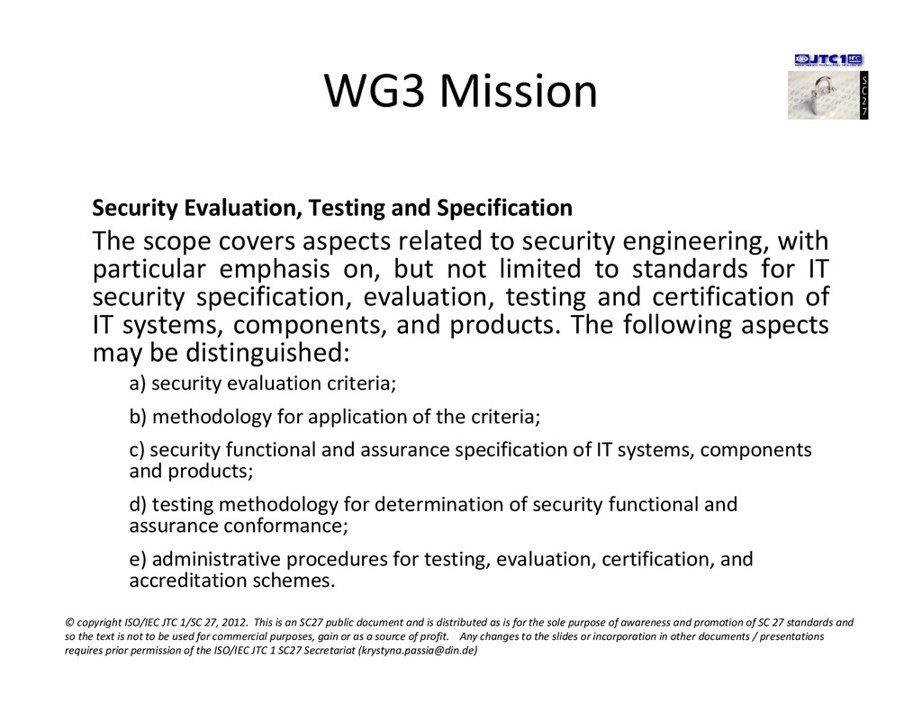 WG3 Mission Security Evaluation, Testing and Sp...
