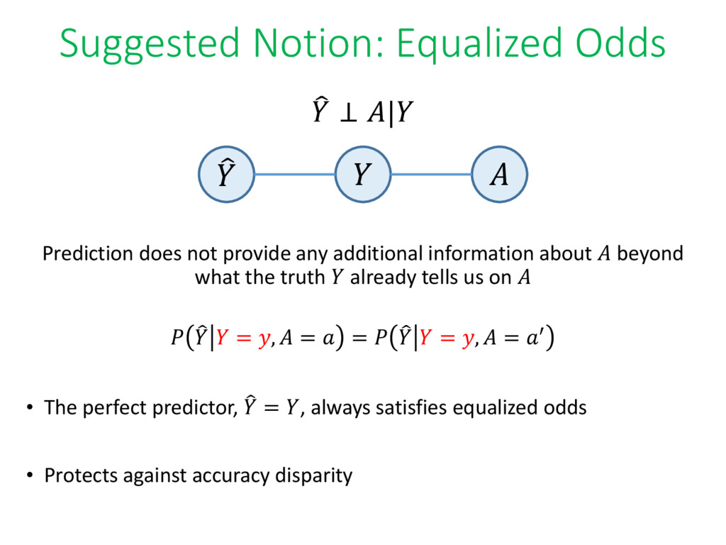 Suggested Notion: Equalized Odds ෠  ⊥ | Predict...