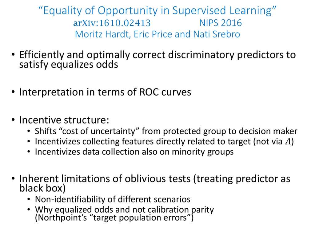 """Equality of Opportunity in Supervised Learning..."