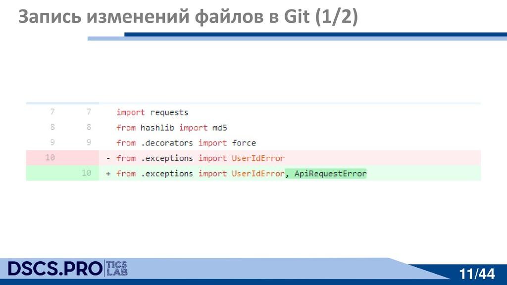 11/44 11/44 Запись изменений файлов в Git (1/2)
