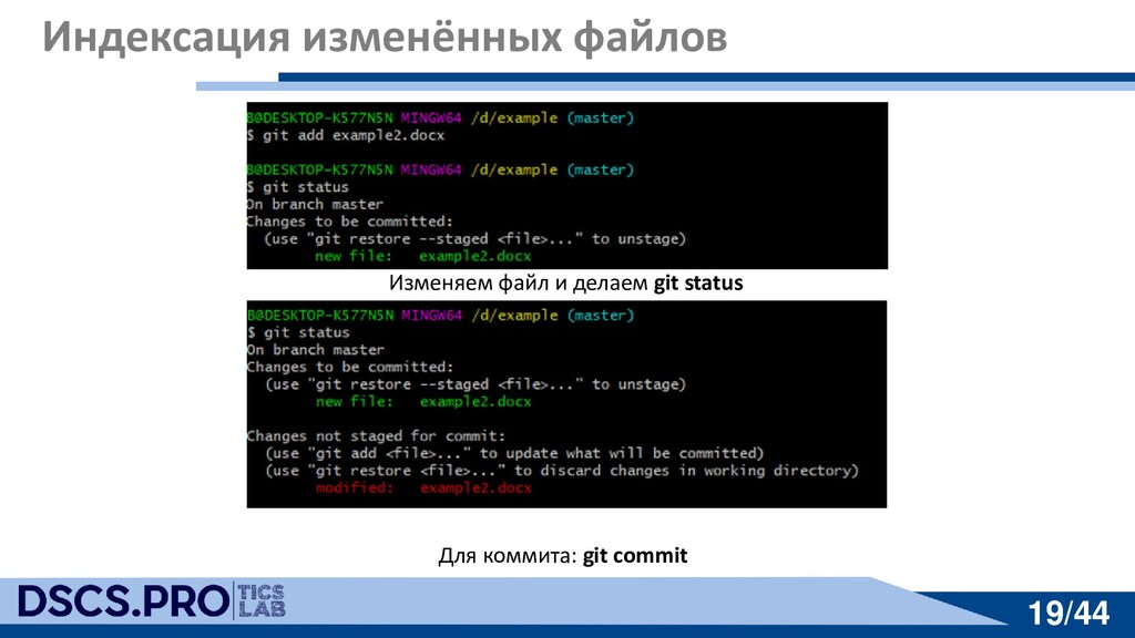 19/44 19/44 Индексация изменённых файлов Изменя...