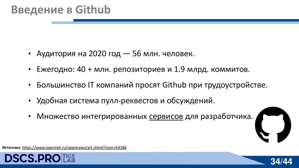 34/44 34/44 Введение в Github • Аудитория на 20...