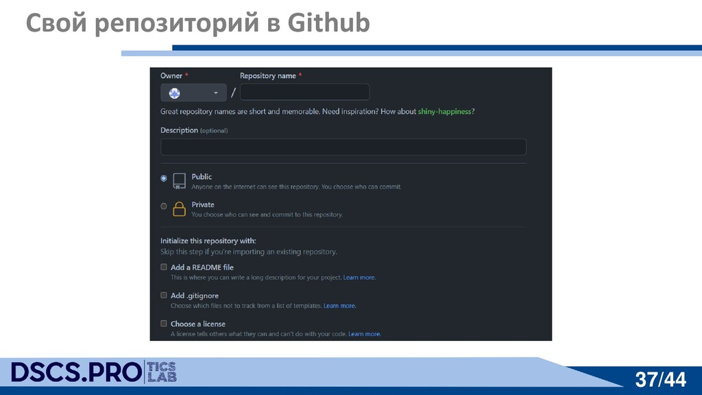 37/44 37/44 Свой репозиторий в Github