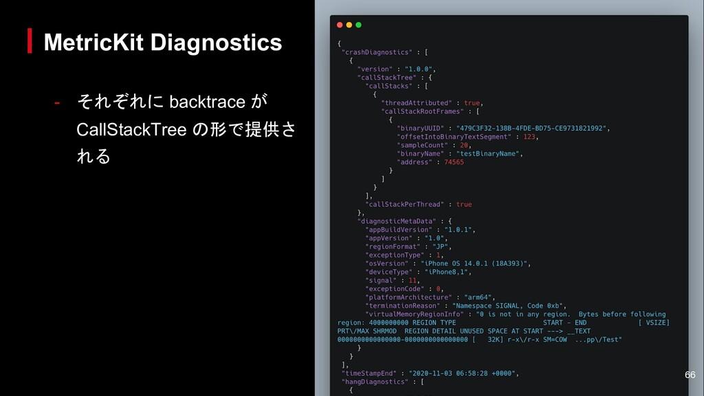 - それぞれに backtrace が CallStackTree の形で提供さ れる Met...
