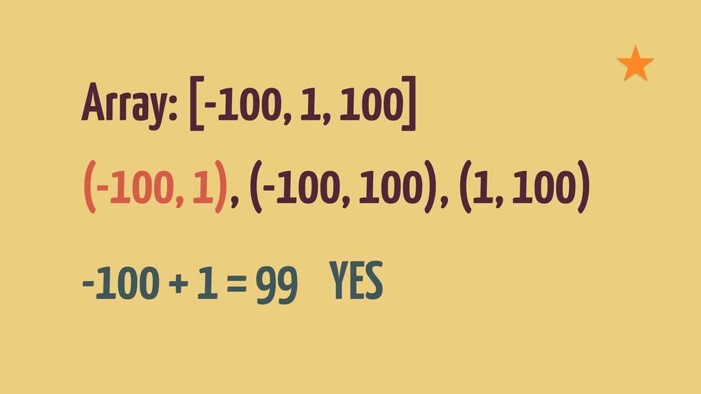 Array: [-100, 1, 100] (-100, 1), (-100, 100), (...