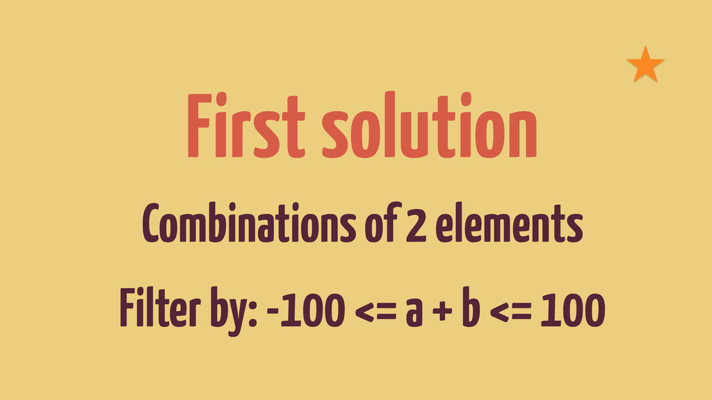 First solution Combinations of 2 elements Filte...