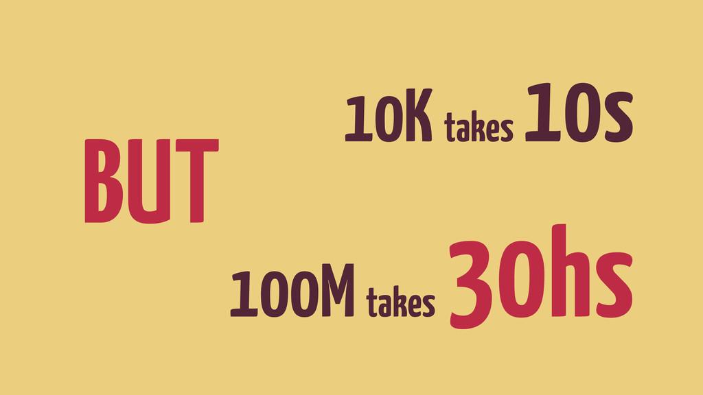 10K takes 10s BUT 100M takes 30hs