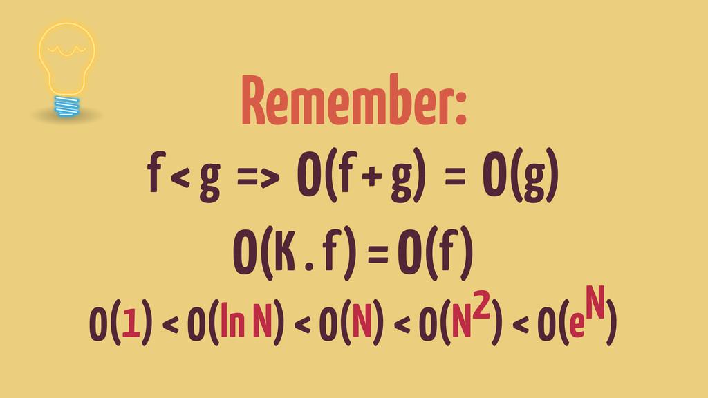 Remember: f < g => O(f + g) = O(g) O(K . f) = O...