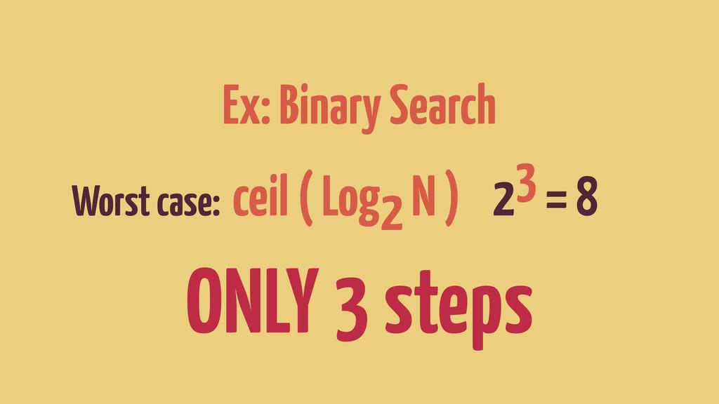 Ex: Binary Search Worst case: ceil ( Log2 N ) 2...