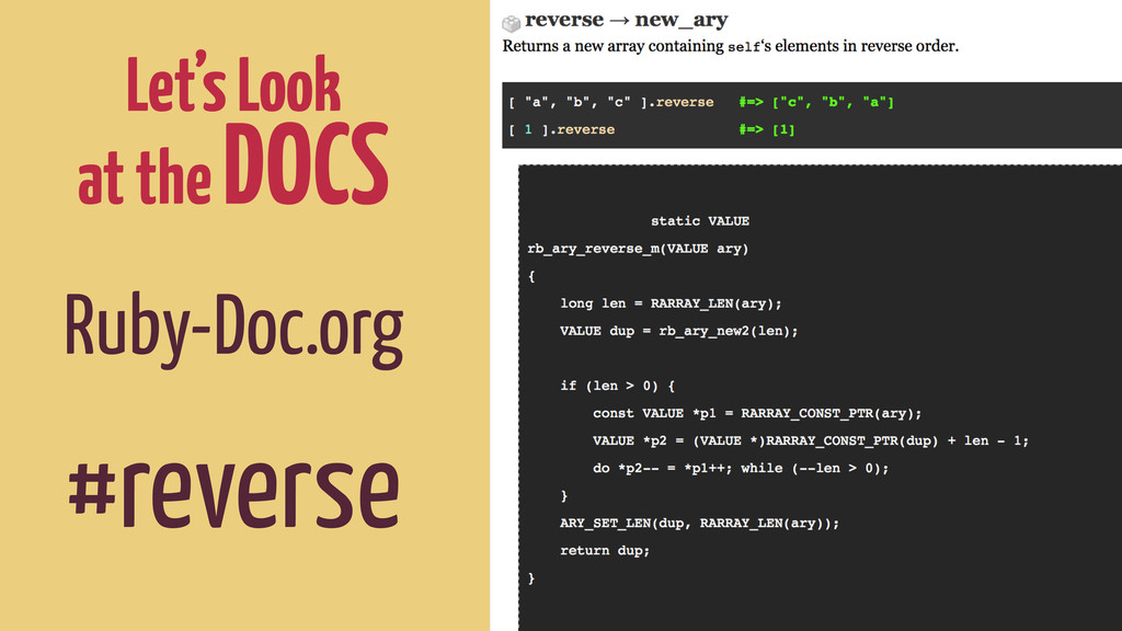 Let's Look at the DOCS Ruby-Doc.org ! #reverse