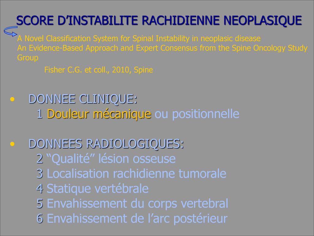 SCORE D'INSTABILITE RACHIDIENNE NEOPLASIQUE • D...