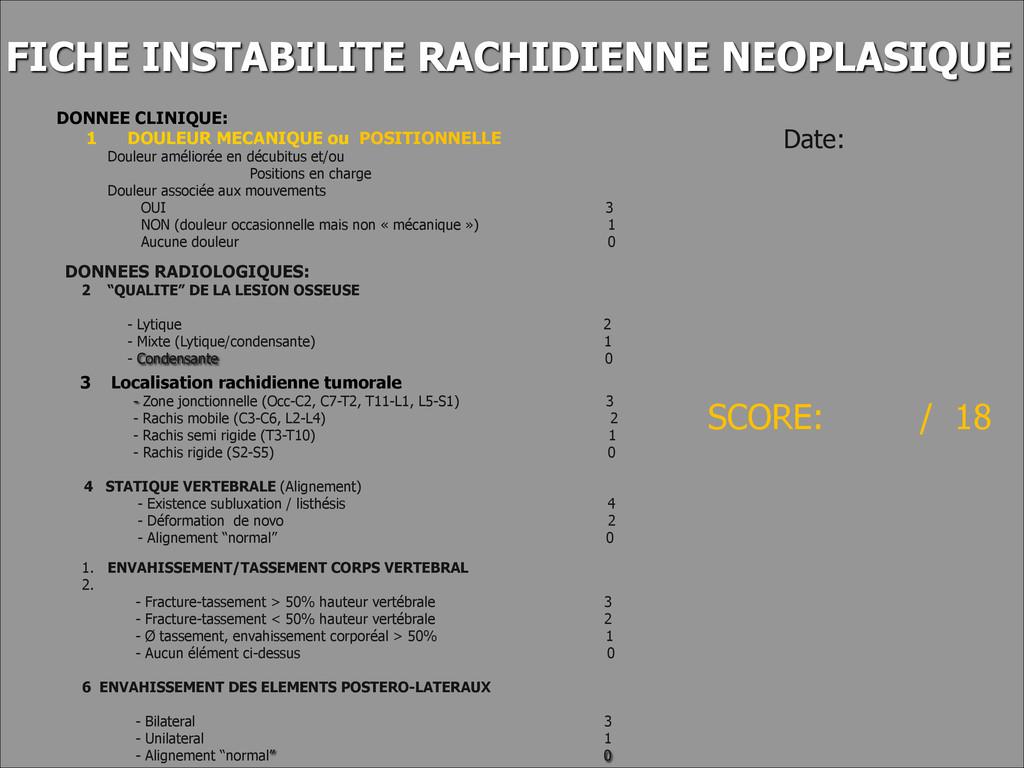 FICHE INSTABILITE RACHIDIENNE NEOPLASIQUE DONNE...