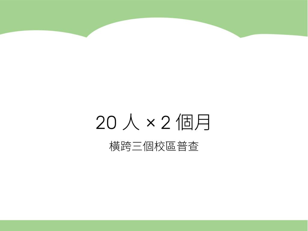 20 人 × 2 個月 橫跨三個校區普查