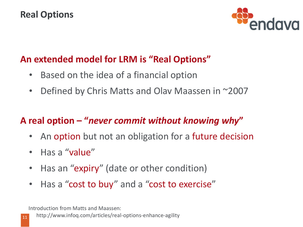 11 11 Real Options An extended model for LRM is...