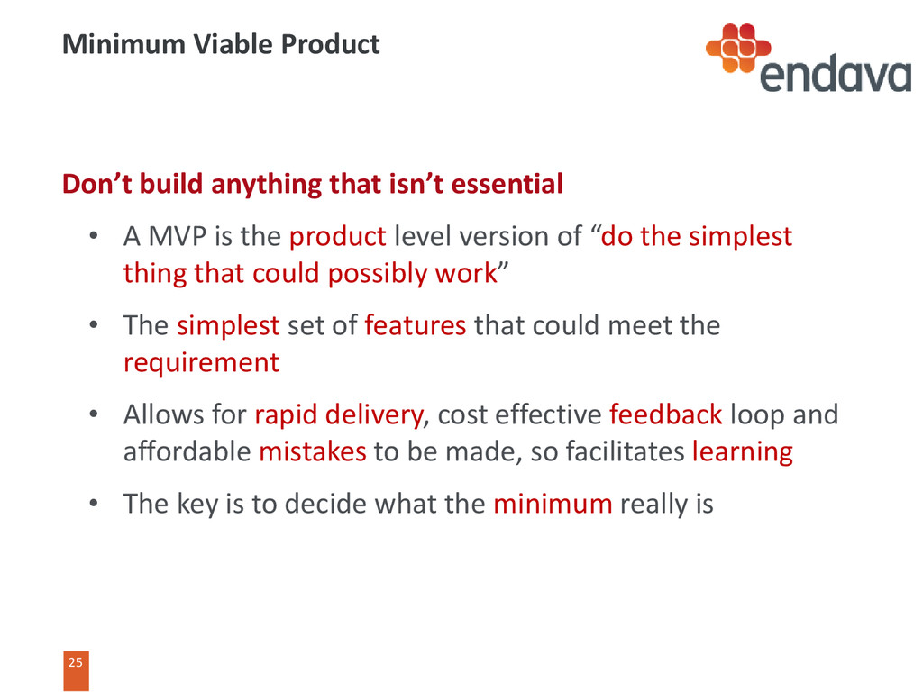 25 25 Minimum Viable Product Don't build anythi...