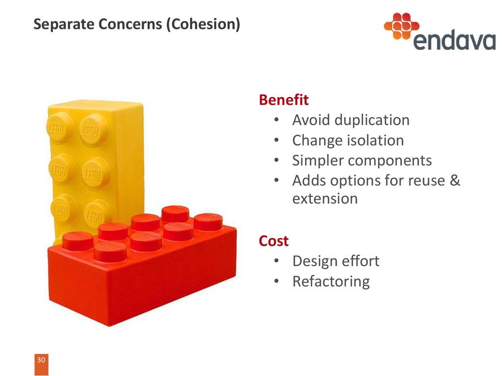 30 Benefit • Avoid duplication • Change isolati...