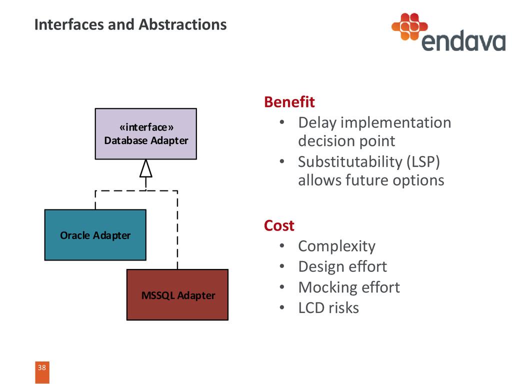 38 Benefit • Delay implementation decision poin...