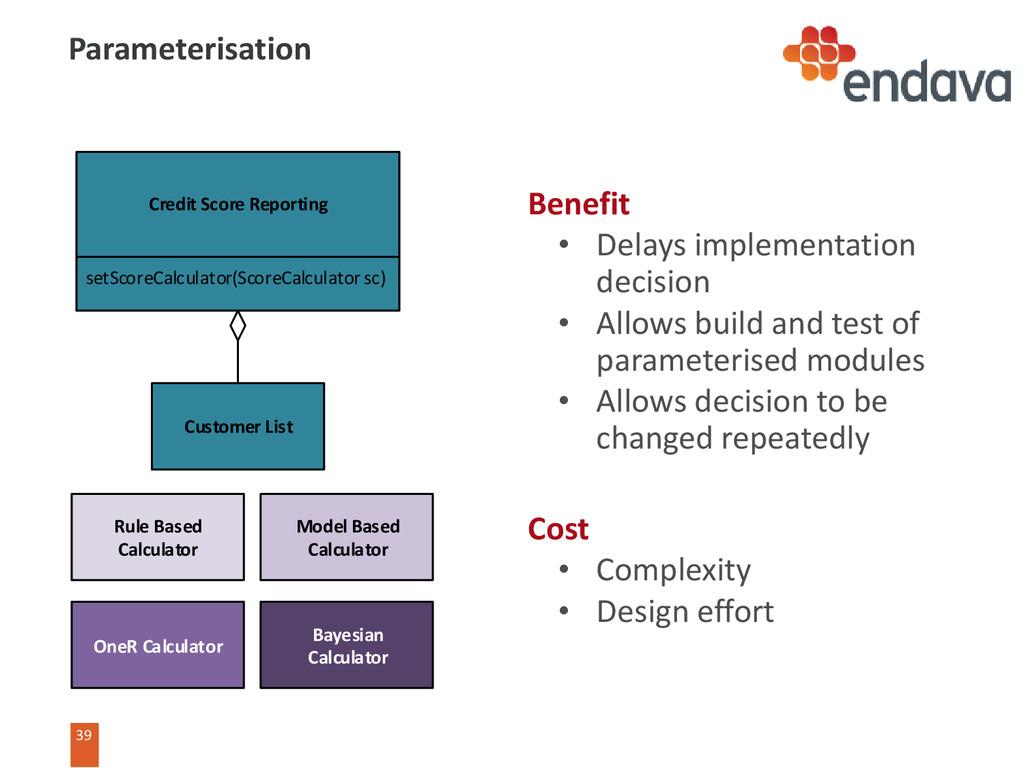 39 Benefit • Delays implementation decision • A...