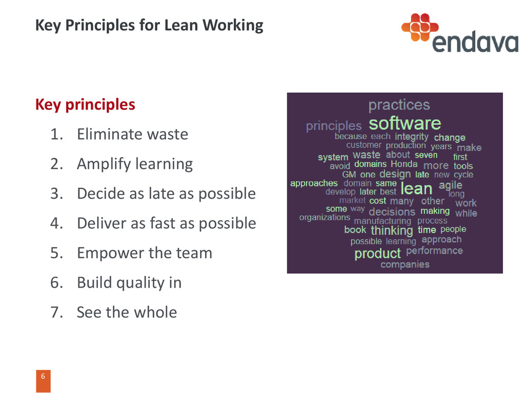 6 6 Key Principles for Lean Working Key princip...
