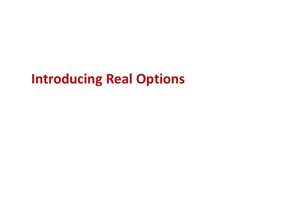 Introducing Real Options