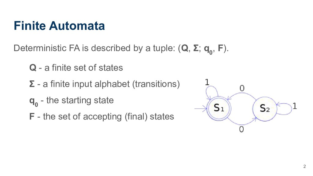 Finite Automata Deterministic FA is described b...