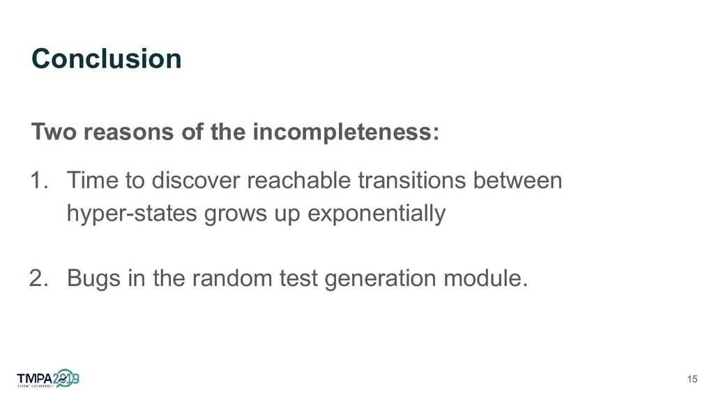 Conclusion Two reasons of the incompleteness: 1...
