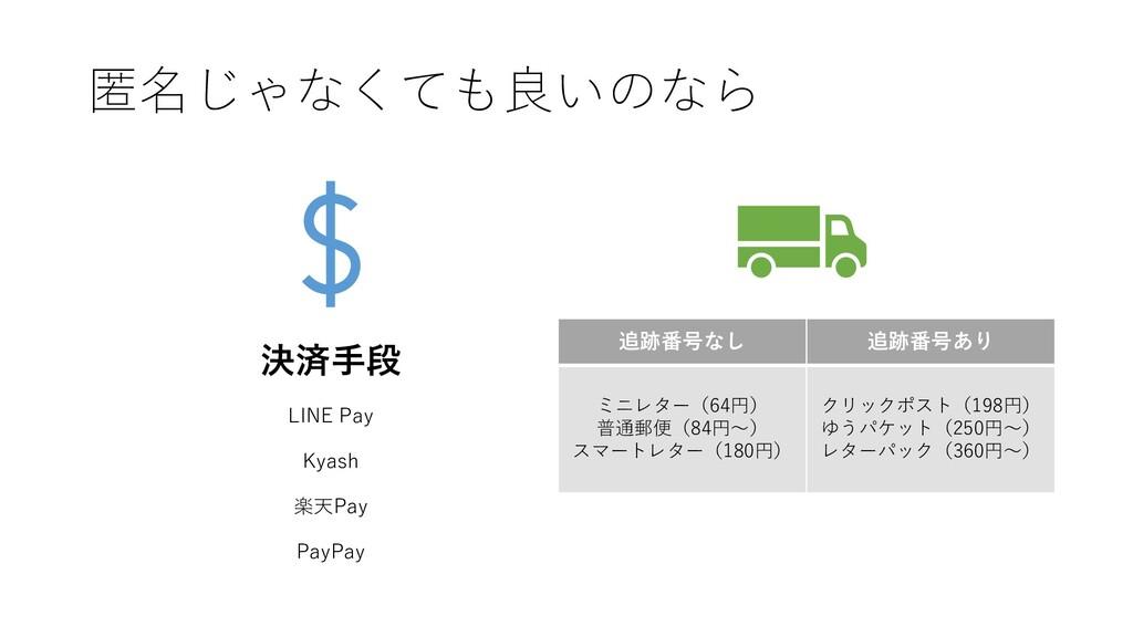 匿名じゃなくても良いのなら 決済手段 LINE Pay Kyash 楽天Pay PayPay ...