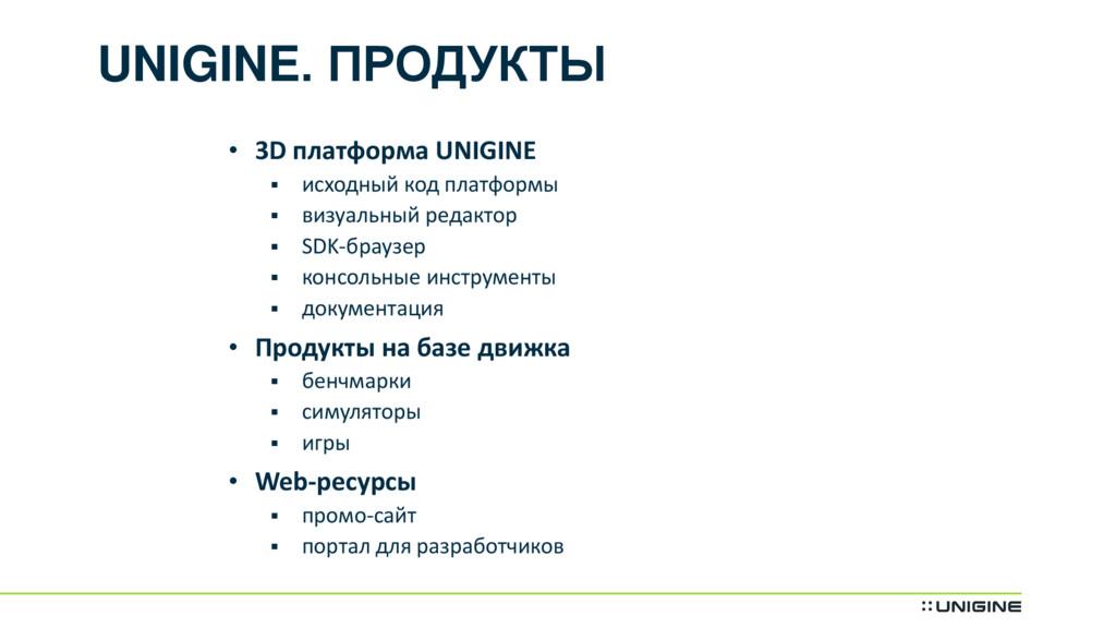 UNIGINE. ПРОДУКТЫ • 3D платформа UNIGINE  исхо...