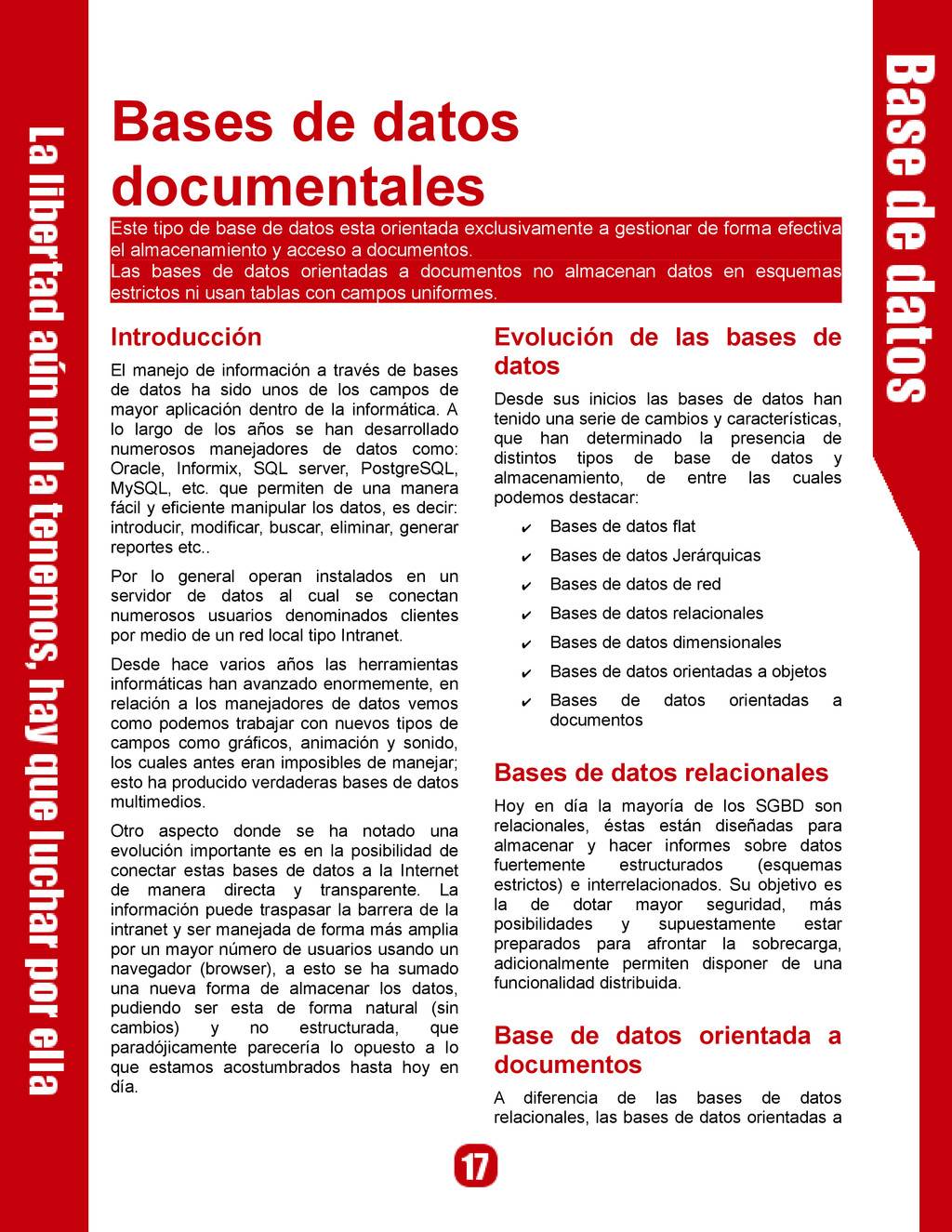 Bases de datos documentales Este tipo de base d...