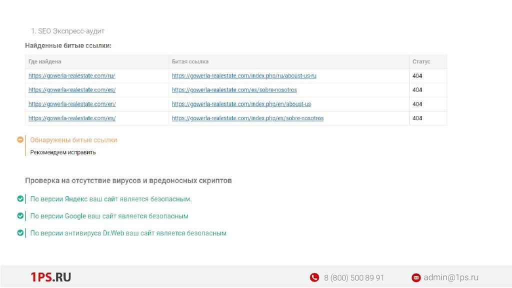 1. SEO Экспресс-аудит admin@1ps.ru 8 (800) 500 ...