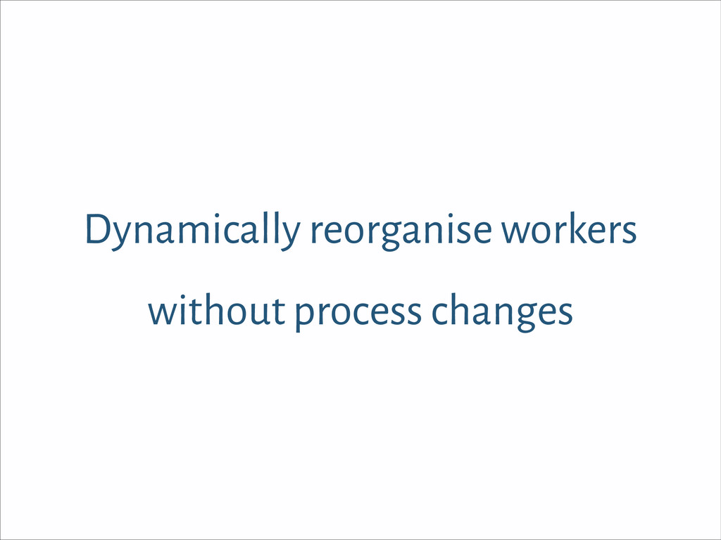 Dynamically reorganise workers without process ...