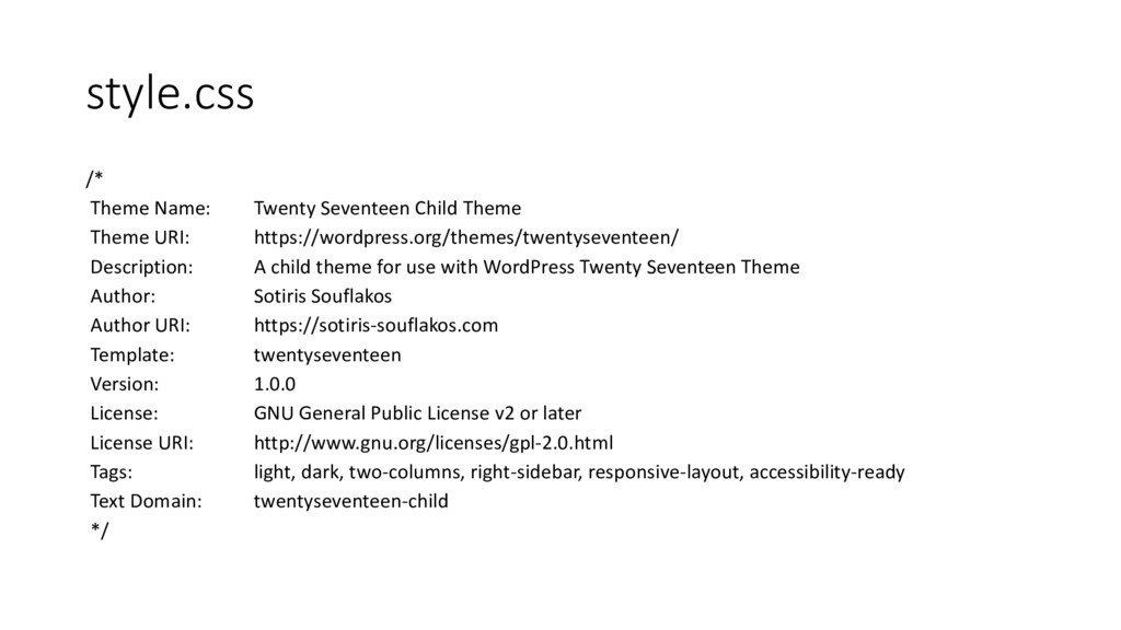 style.css /* Theme Name: Twenty Seventeen Child...