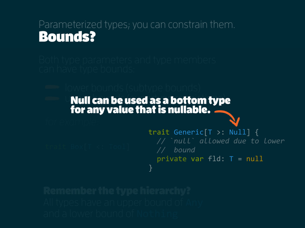 Bounds? Both type parameters and type members c...