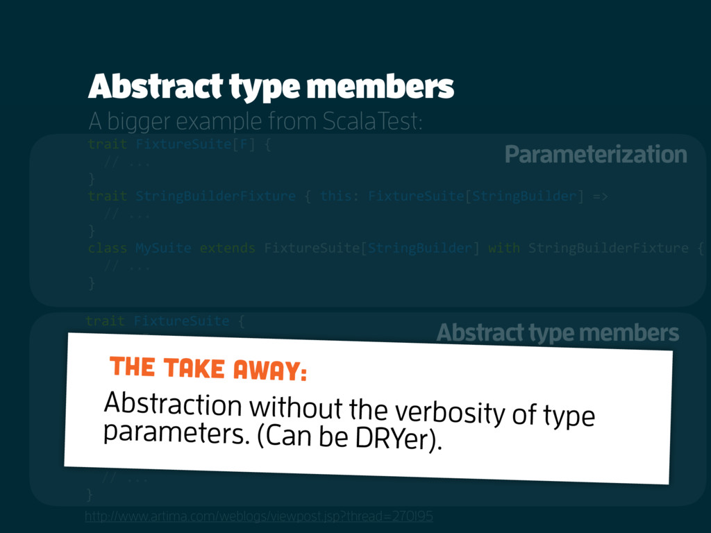 Abstract type members http://www.artima.com/web...